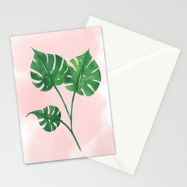 Watercolor tropical leaf Stationery Cards