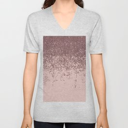 Speckled Rose Gold Glitter on Blush Pink Unisex V-Neck