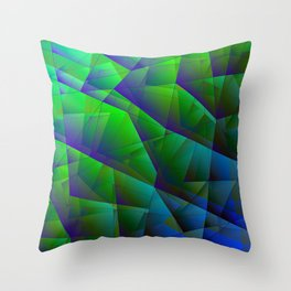 Abstract bright pattern of green and overlapping blue triangles and purple irregularly shaped lines. Throw Pillow