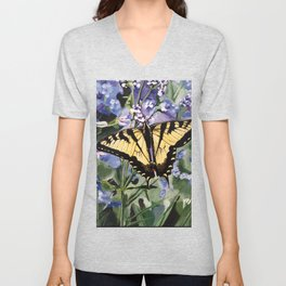 Yellow Swallowtail Butterfy Unisex V-Neck