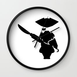 Bearded pirate with the sword and the hook Wall Clock