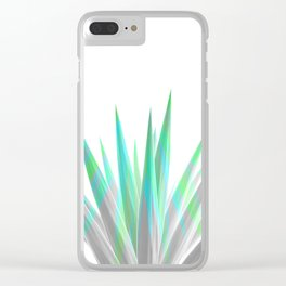 Tropical Allure - Green & Grey on White Clear iPhone Case