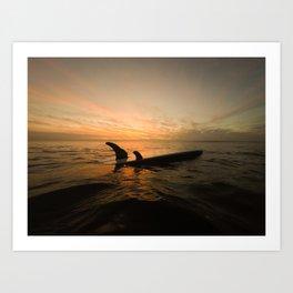 Surfboard Sunset Art Print