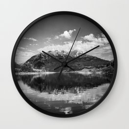 Twin Lakes - Mount Elbert at Twin Lakes Colorado in Black and White Wall Clock