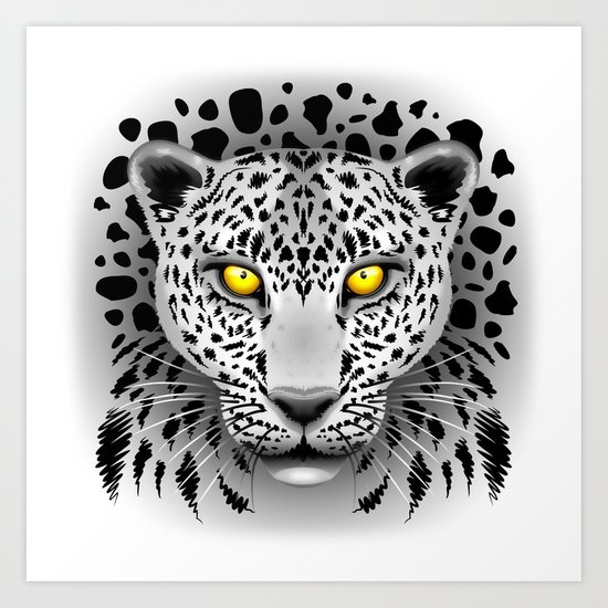 White Leopard with Yellow Eyes Art Print