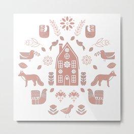 Folk Art Farm 2 // Folk Art Birds, Hand Drawn Leaves, Flowers and Leaves // Pink, white Metal Print