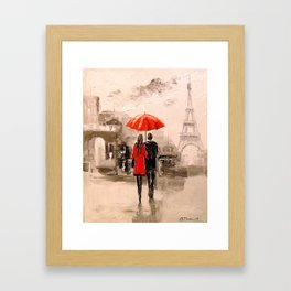 Walk in Paris rain Framed Art Print