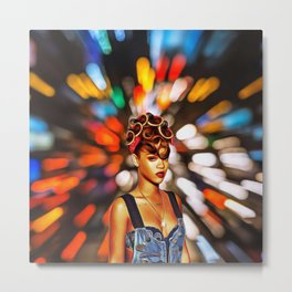 Rihanna - Celebrity with Flash Motion Art Metal Print