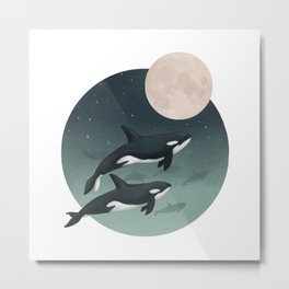 moonlight caravan // orcas Metal Print