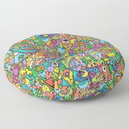 A pinch of everything in a pattern full of carnival colors Floor Pillow