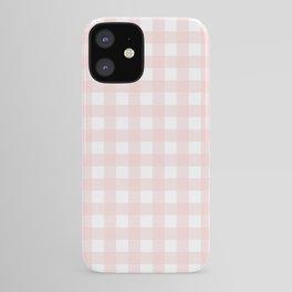 Pastel pink gingham pattern iPhone Case