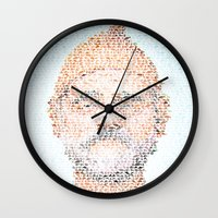 steve zissou Wall Clocks featuring The Aquatic Steve Zissou by Robotic Ewe