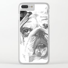 Portrait Of An American Bulldog In Black and White Clear iPhone Case