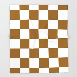 Large Checkered - White and Golden Brown Throw Blanket
