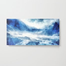 An icy road in Siberia in a snowstorm Metal Print