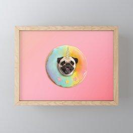 Unicorn Pug Pastel Donut Framed Mini Art Print