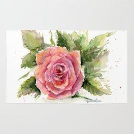 Red Rose Watercolor Pink Rose Flower Floral Art Rug