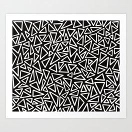 Triangles black and white Art Print