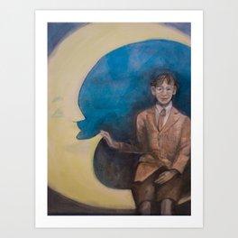 Watercolor Portrait of Boy on a Crescent Moon Art Print