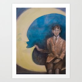 Watercolor Portrait of Boy on a Crescent Moon Art Print