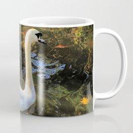 Beautiful swan in iridescent fall leaves Coffee Mug