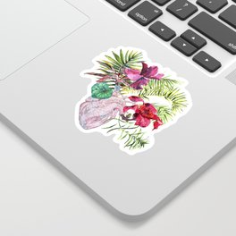 Human heart with flowers, plant and leaf, watercolor Sticker