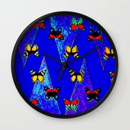 Bright Butterfly Pattern Print Wall Clock