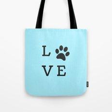LOVE Paw Print (Dog Valentine Blue) Tote Bag