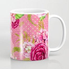 Pink & Gold Vintage Floral Pattern Coffee Mug