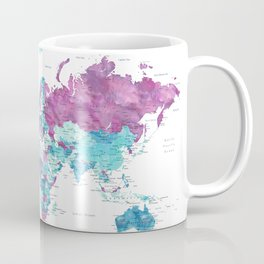"""Purple and turquoise watercolor world map with cities, """"Blair"""" Coffee Mug"""