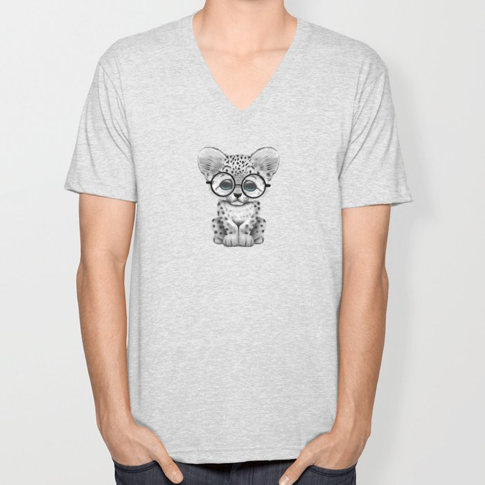 Cute Snow Leopard Cub Wearing Glasses on Teal Blue Unisex V-Neck