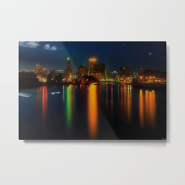 Providence Summer Nights City Skyline Landscape by Jeanpaul Ferro and Mike Dooley Metal Print