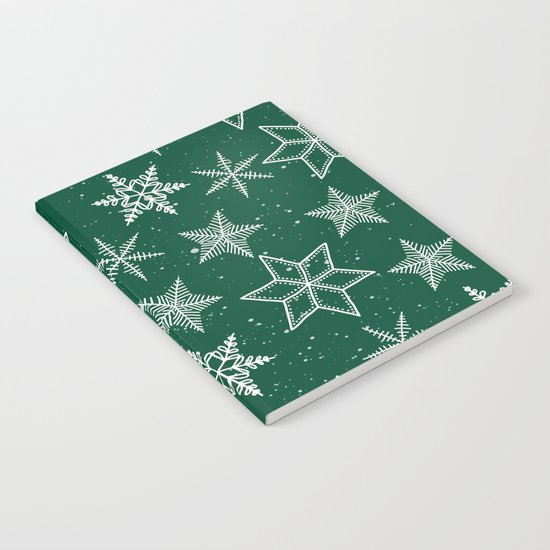 Snowflakes On Green Background Notebook