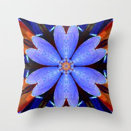 Blue abstract graphic colorful star galaxy flower pattern symbol of royalty, happiness and success. Throw Pillow