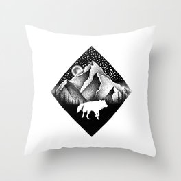THE LONELY WOLF Throw Pillow