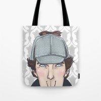 sherlock Tote Bags featuring Sherlock by enerjax