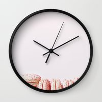 macarons Wall Clocks featuring Macarons ..  by Karen Anderson
