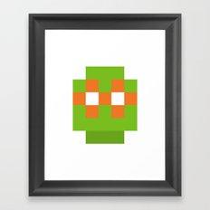 hero pixel green orange Framed Art Print