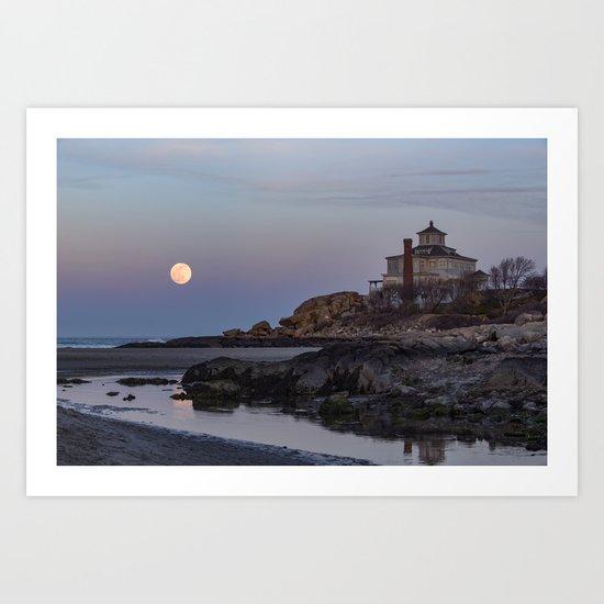 Full moon at Good Harbor Beach Art Print