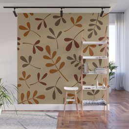 Fall Color Assorted Leaf Silhouettes Wall Mural