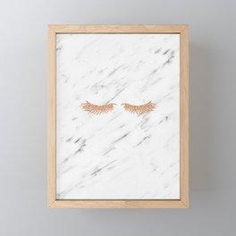 Rose gold marble lash envy Framed Mini Art Print