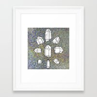 holographic Framed Art Prints featuring holographic crystal collection by HiddenStash Art