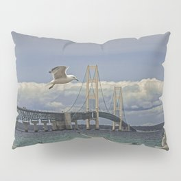 Flock of Gulls Flying by the Bridge at the Straits of Mackinac Pillow Sham