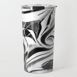 Black and white swirl - Abstract, black and white swirly, paint mix texture Travel Mug