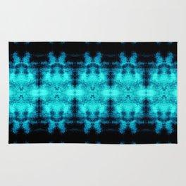 Turquoise Blue Black Diamond Gothic Pattern Rug