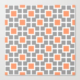 Classic Hollywood Regency Pattern 221 Gray and Orange Canvas Print