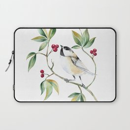 Chickadee on a tree! Laptop Sleeve