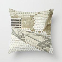 Money Down the Drain Throw Pillow