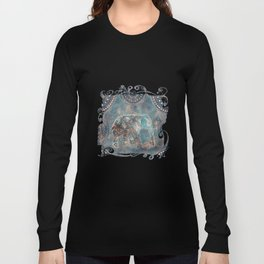 Elephant Ethnic Style Pattern Teal and Copper Long Sleeve T-shirt