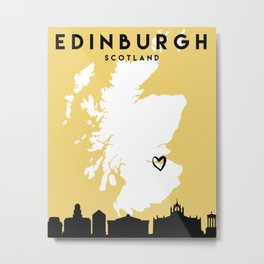 EDINBURGH SCOTLAND LOVE CITY SILHOUETTE SKYLINE ART Metal Print